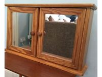 Wall Mounted Mirrored Pine Bathroom Cabinet Excellent H15.5in/40cmW26.5in/67cmD6.5in/16cm