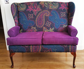 Reupholstered High Back Wing Queen Anne 2-seaters Sofa in modern Orient Style