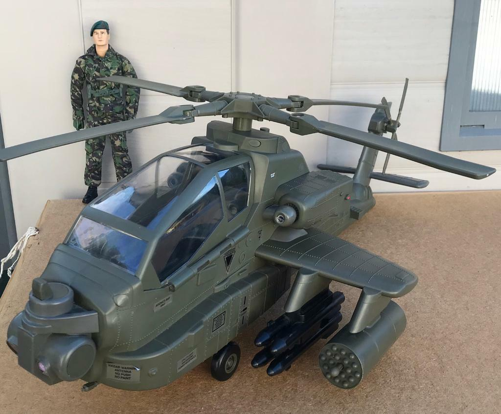Hm Armed Forces Raf Army Toy Apache Attack Helicopter Chopper Action