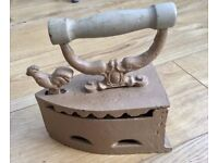 Antique Cast Iron Flat Iron, Painted, Sad Iron, Laundy Press Iron, Country Kitchen Shabby Chic