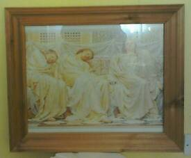 Picture Of Three Women In An Antique-Pine-Frame!
