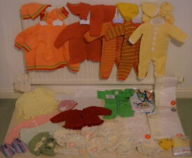 Wholesale Job Lot Bundle of *31* Baby Clothing Items - new, hand knitted, newborn, 0-3 months