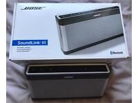 Boxed Bose SoundLink III Bluetooth Rechargeable Speaker and Charging Cradle