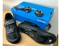 Reduced - Men's Black Shimano RP1 Cycling Shoes and M520 Pedals
