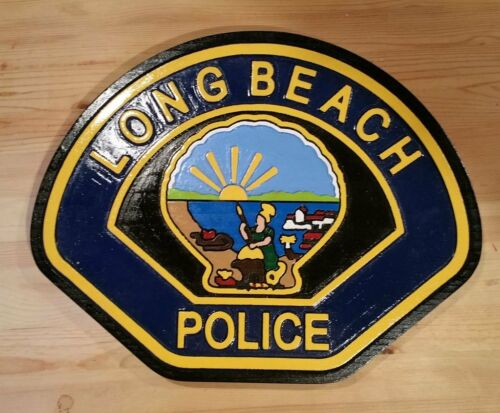 Police Department Long Beach 3D routed plaque wood patch Sign Custom