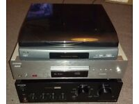 Sony separates - record player, CD deck and amplifier with cables