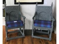 Pair of upcycled carved chairs
