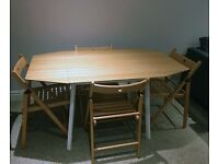 Drop-leaf bamboo dining room table and four chairs