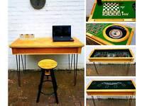 """Bespoke Industrial Oak Table/Desk - Steel 28"""" Hairpin Legs - Hidden Casino Games"""