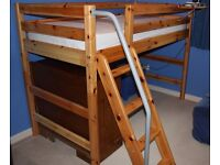 FLEXA Classic Semi High child's bed with slanting ladder and handrail - adjustable height