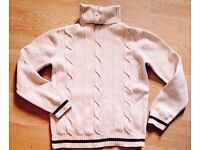 Ladies Cable Knit Cream Buttoned Turtle/Polo/Roll Neck Sweater Jumper.Size XS.