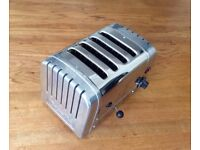 Iconic Dualit 4 slot Chrome Toaster fully working, great design piece for any kitchen rrp £200