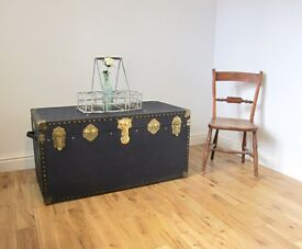 Vintage Metal-bound Travelling Trunk / Coffee Table