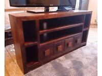 Mango wood corner TV unit