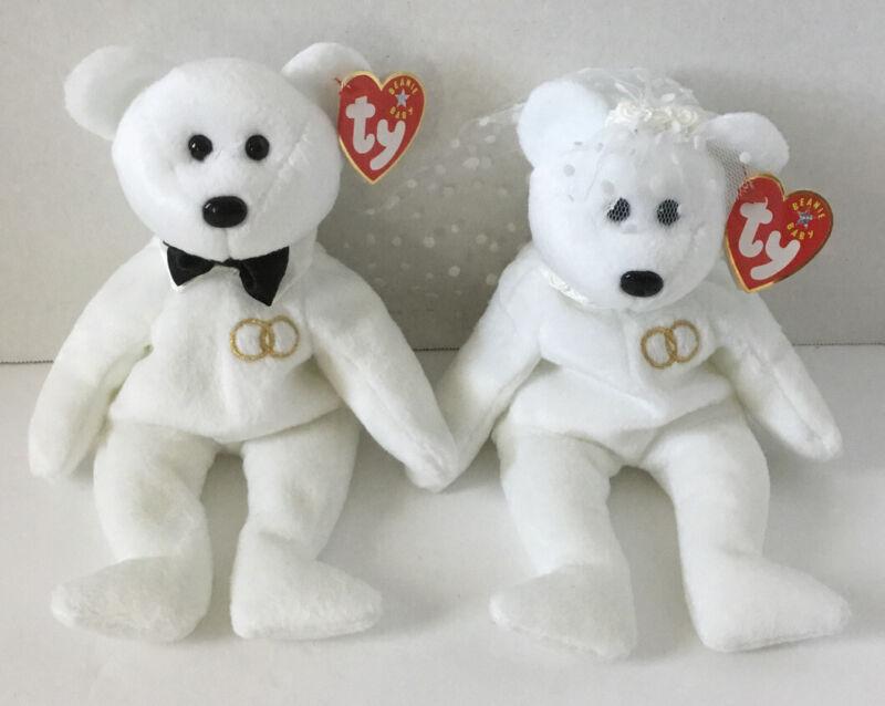 Ty Beanie Babies Set of 2: Mr & MRS Bears NWT Retired!