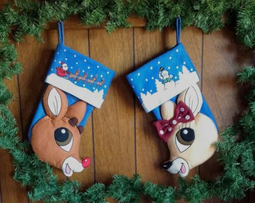 """Lot 2 Christmas 3D Stockings RUDOLPH THE RED NOSED REINDEER & CLARICE Felt 15.5"""""""