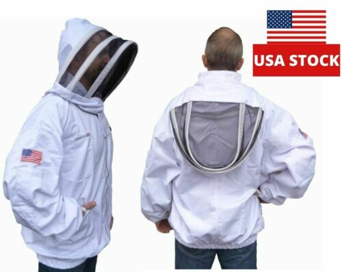 3X-LARGE Professional White Cotton Adult Beekeeping Jacket, Pullover, Smock Veil