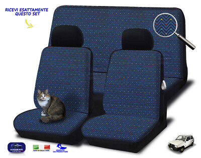 Coprisedili Fiat Panda 141 A 1986>2003 Fodere copri sedile set cotone blu notte