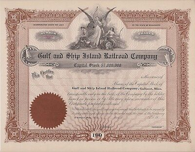 Gulf And Ship Island Railroad Company     Unissued Stock Certificate
