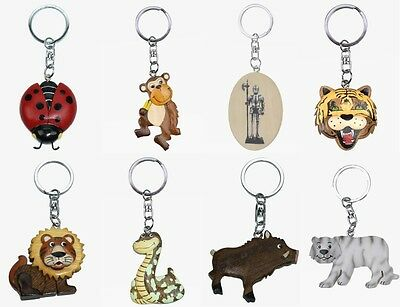 1 Schlüsselanhänger Tiere Holz Metall Schlüsselring Schlüssel Tier