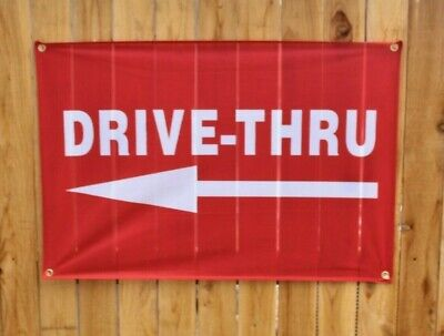 New Drive Thru Now Open Banner Outdoor Arrow Sign Restaurant Takeout Vinyl Mesh