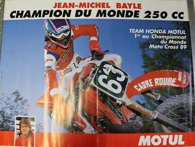 Affiche poster honda 250 cc moto cross 1989 jean-michel bayle motul 60x80cm