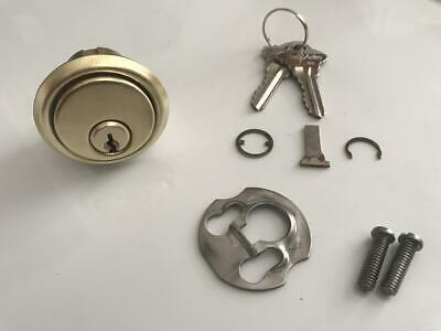 Vtg American Lock 1-18 Rim Cylinder Schlage Keyway Brass Usa 2 Keys Garage