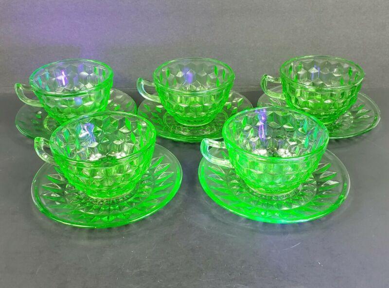 Set of 5 Jeannette Glass Co CUBE CUBIST Green Uranium Depression Cups & Saucers