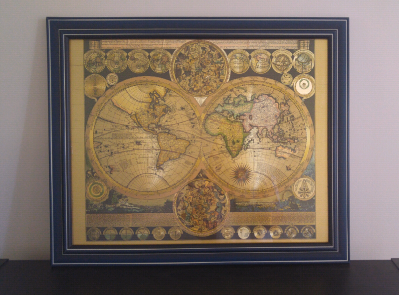 Framed gold foil world map art gumtree australia victoria park 1 of 2 gumiabroncs Choice Image