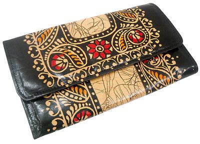 Batik Design Colorful Ladies Bag Edh Pure Leather Shantiniketan Clutch Purse