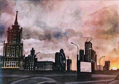 ORIGINAL Gemälde Acryl Papier Landschaft Stadt Hamburg EINZELSTÜCK Himmel NEU