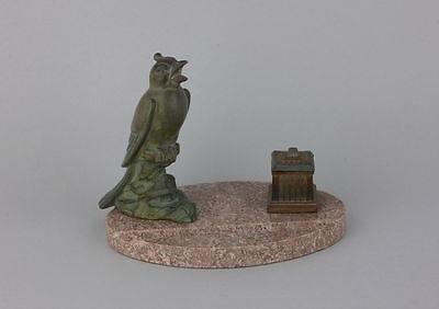 Schreibtischgarnitur mit Vogel - Art Deko