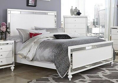 GLITZY 4 PC WHITE MIRRORED KING BED ...
