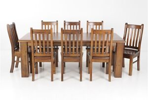 9 Piece Rustic Dining Table & Chairs Baldivis Rockingham Area Preview