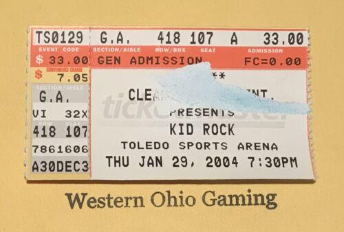 Kid Rock 2004 Toledo Sports Arena Ticket Stub RESCHEDULED Due to Super Bowl