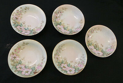 ANTIQUE VINTAGE CZECH THUN 5 HAND PAINTED BERRY BOWLS