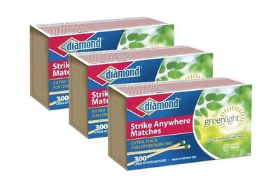 Diamond Strike Anywhere Greenlight Matches [3 Boxes of 300 (900 total Matches)]