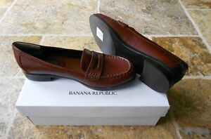 BANANA-REPUBLIC-6-5M-Women-NWT-118-Brown-Leather-Penny-Loafer-Shoes-Flats-DEE