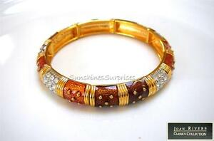 JOAN RIVERS STRETCH BANGLE BRACELET COPPER GUILLOCHE ENAMEL PAVE CRYSTALS NEW