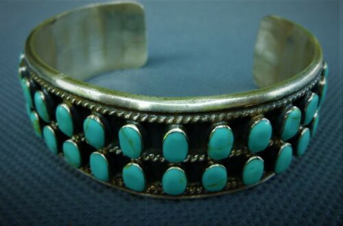 Vintage NAVAJO Style 42 Stone TURQUOISE & 925 Sterling MEXICAN Cuff Bracelet 52g