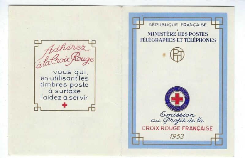 1953 Souvenir Folder of Mint Stamps From French P.O. to Benefit Red Cross