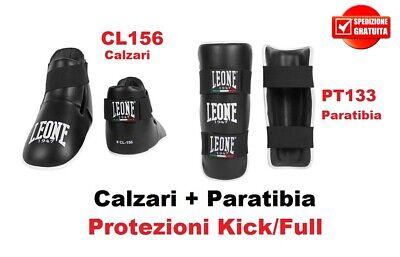 KIT CALZARI + PARATIBIE LEONE - PROTEZIONI KICK BOXING MUAY THAI KICK LIGHT