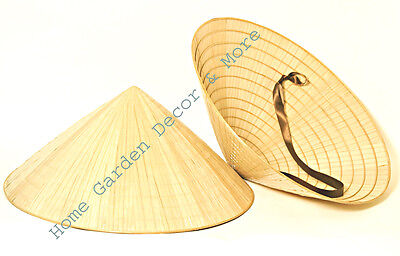 2 Oriental Vietnamese Chinese Asian Cone Garden Fishing Sun Bamboo Rice Hats - Chinese Bamboo Hat