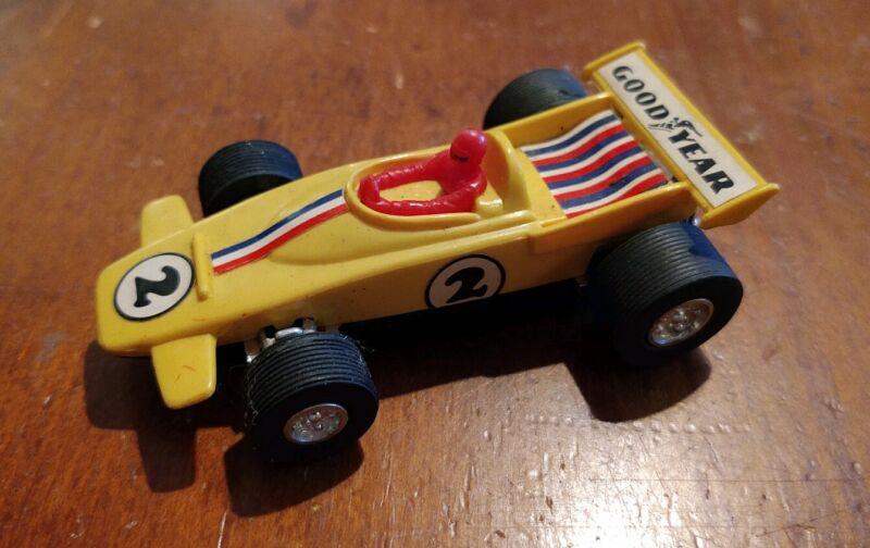 "1970s PLAY ART SUPER TRACK 4"" YELLOW SLOT RACE CAR GOOD YEAR"