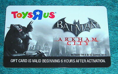 TOYS R US BATMAN ARKHAM CITY GIFT CARD NO CASH VALUE COLLECTIBLE ONLY