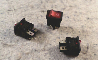 Chily Red Illuminated Rocker Switch model 3022 panel mount DPST Qty 3 (C19B4)