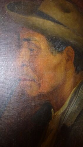 JAPANESE OIL PORTRAIT - MAN WITH PIPE - 1900 POET - FARMER - SATO - SIGNED - $975.00