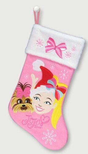 "Jojo Siwa  Christmas Bow Pink Stocking 18"" NWT Plush Trim Nickelodeon"
