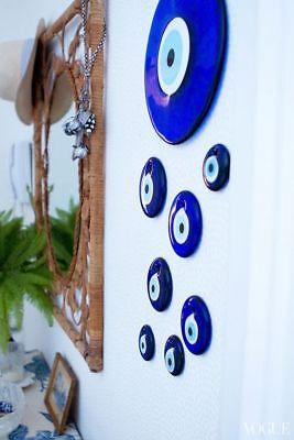 Multi Size Round Blue Glass Turkish Greek Evil Eye Nazar Amulet Good Luck Charm