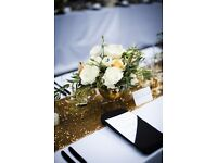 Luxury decor- sequin table runners, flower wall, LOVE sign, charger plates,LED dancefloor for hire